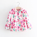 2016 Autumn children new clothes fashion girls outerwear with flower print hooded girl jacket  A089