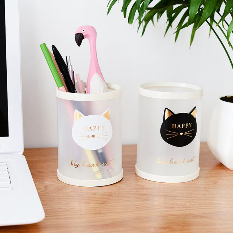 1 Pcs Kawaii Round Animal Cat Dog Number Starry Sky Office Desk PP Pen Holders Pencil Container Storage Organizer Stationery