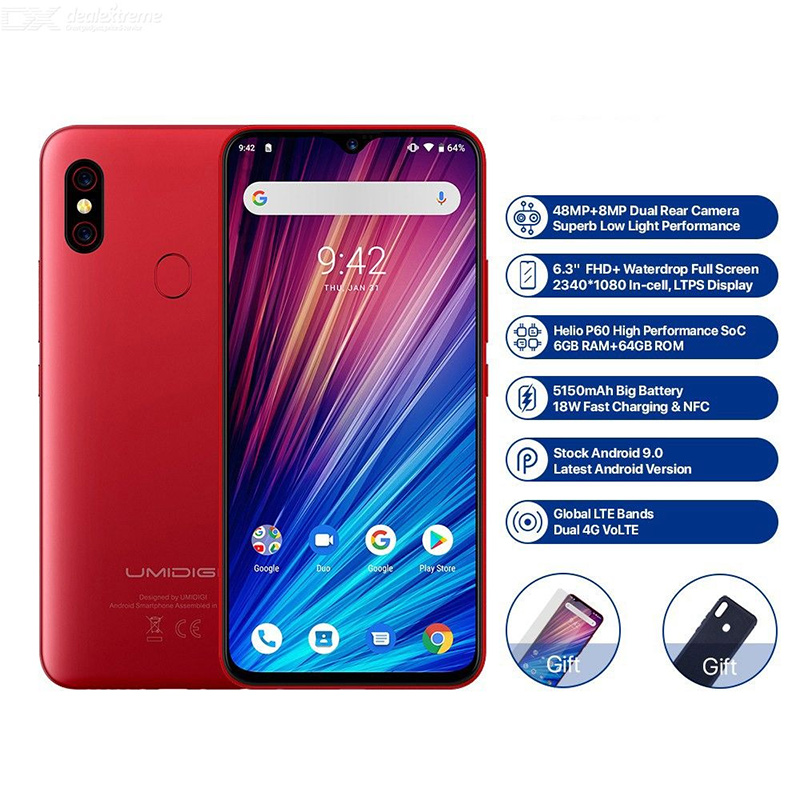 UMIDIGI F1 Play 48MP + 8MP + 16MP 5150 mAh téléphone portable Android 9.0 6 GB RAM 64 GB ROM 6.3