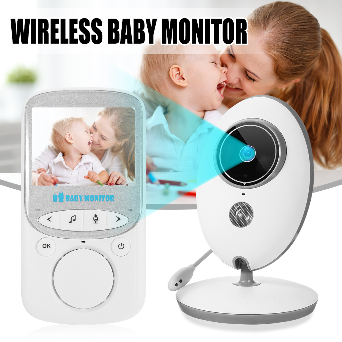Wireless Video Baby Monitor 2.4 inch Color Security Camera 2 Way Talk Night Vision IR LED Temperature Monitoring with 8 Lullaby baby sleeping monitor color video wireless with camera baba electronic security 2 talk nigh vision ir led temperature monitoring