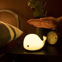 דולפין LED ילדי לילה אור USB נטענת סיליקון תינוק משתלת מנורת עם רגיש שליטה ברז לילדה גברת ילד תינוק