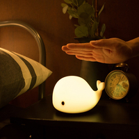 Dolphin LED Children Night Light USB Rechargeable Silicone Baby Nursery Lamp With Sensitive Tap Control For