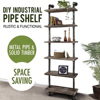 Rustic Industrial Ladder Wall Shelves 6 Tier Wood Planks Iron Pipe Standing Book Shelf Storage Rack US Stock