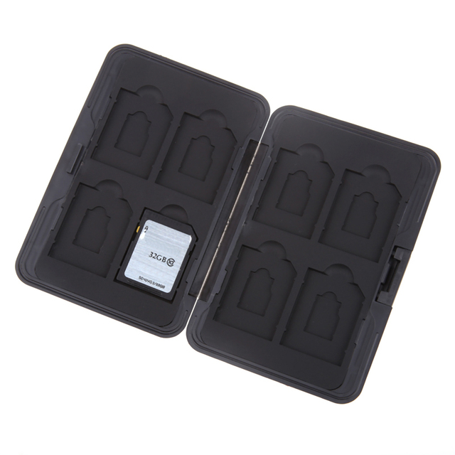 Silver Micro SD Card Holder SDXC Storage Holder Memory Card Case Protector case 16 solts for SD/ SDHC/ SDXC/ Micro SD 2