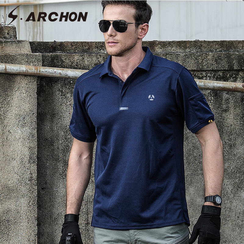 S.ARCHON Summer Quick Dry Military   Polo   Shirt Men Cotton Breathable Army Tactical   Polo   Shirt Man Casual Print Short Sleeve   Polos