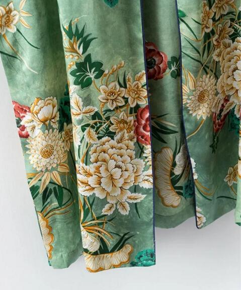 HTB1FbUDPVXXXXbhaFXXq6xXFXXXT - Ethnic Flower Print with sashes Kimono Shirt Retro Tops blusas