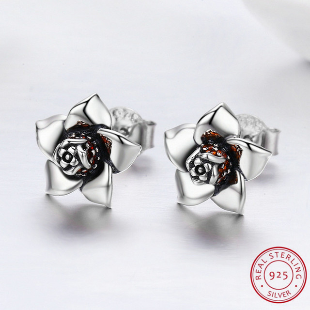 Gardenia in Blossom Style S925 Silver Earrings for Women Wedding Engagement Daily Jewelry Exquisite Flower with Elegant Surface