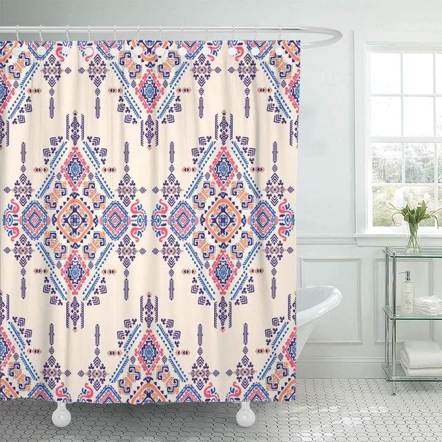 Shower Curtain With Hooks Geo Tribal Aztec Mexican Vintage Indian Ethnic Style Spring African Geometric Floral Bathroom