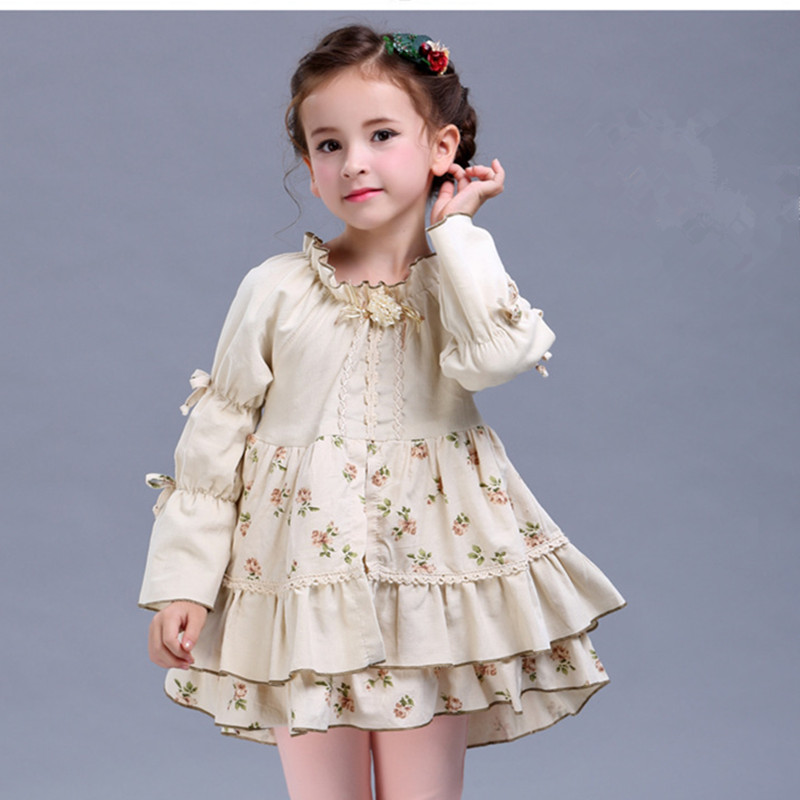 Anlencool Girls dress clothes sale autumn children new princess dress Baby Girl Cotton Dresses Beautiful Baby Kids Clothing Lace 2018 children s clothing new short sleeved girls printed shoulders children princess puff dress baby girl clothes baby