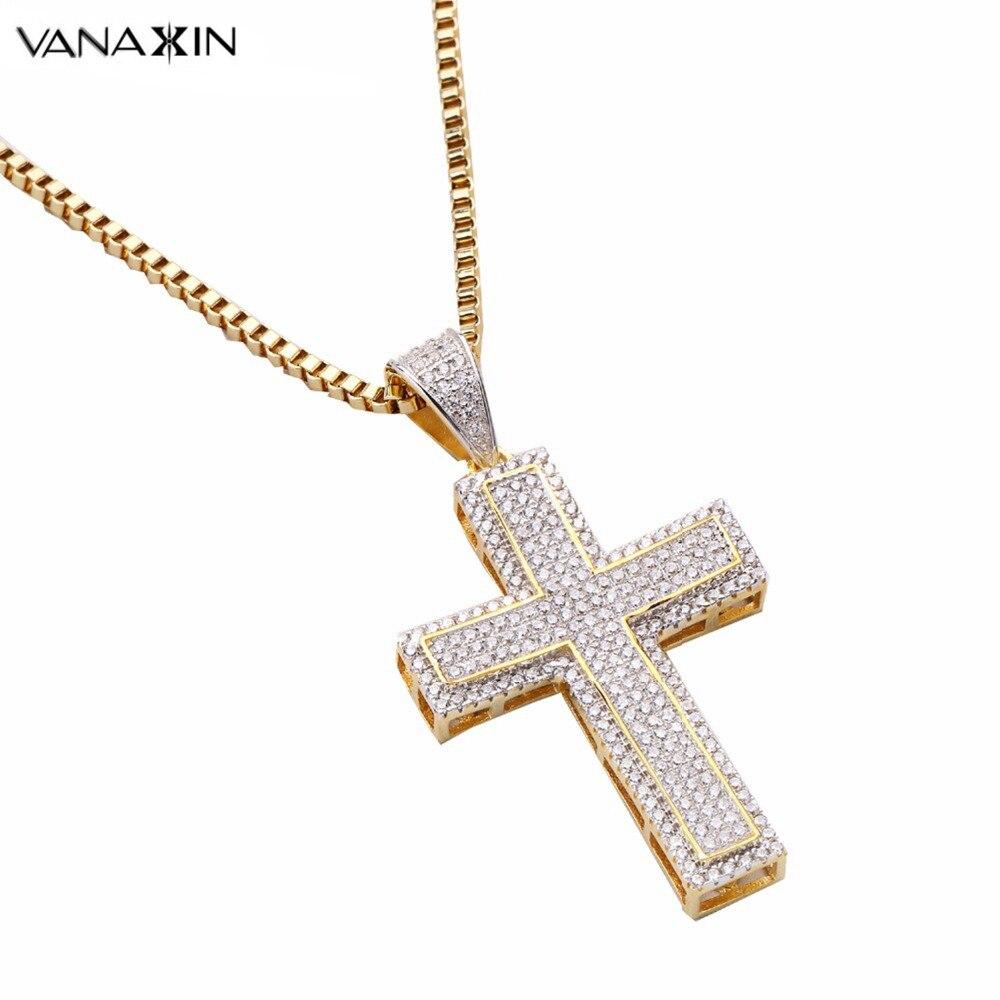 VANAXIN Cross Jesus Necklace Pendant Zircon Silver 925 Men Punk Gold Silver Color Statement Pendants Jewelry
