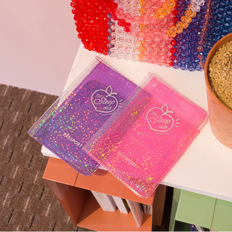 Bentoy Girl PVC Glittering Passport Cover Milkjoy Hologram Passport Holder New Letter Credit Card Cover Travel Ticket Accessory