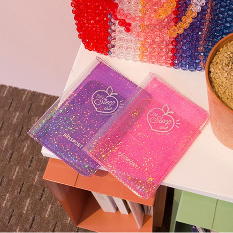 Bentoy Girl PVC Glittering Passport Cover Milkjoy Hologram Passport Holder New Letter Credit Card Cover Travel Ticket Accessory
