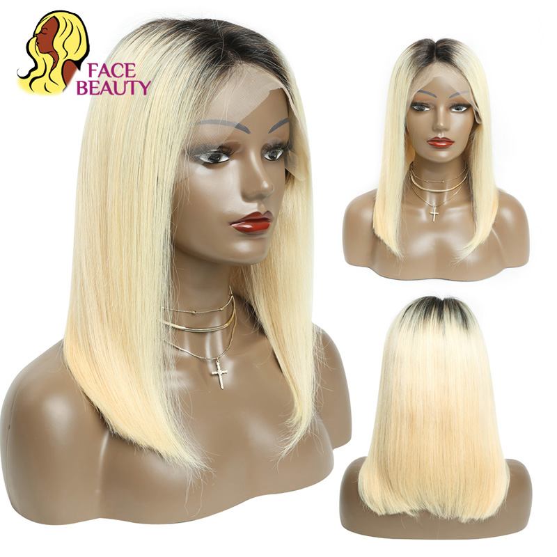 Facebeauty Russian 1B 613 Blonde Straight Short Bob Human Hair Half Wig Ombre 2 Color Dark Root European 13 X 6 Lace Front Wig