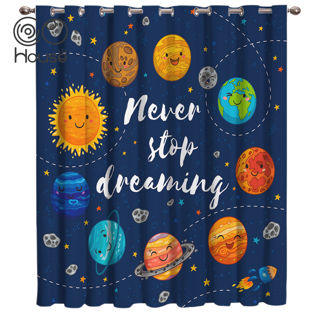 Cartoon Planet Pattern Room Curtains Large Window Blackout Curtains Kitchen Fabric Indoor Decor Swag Window Treatm