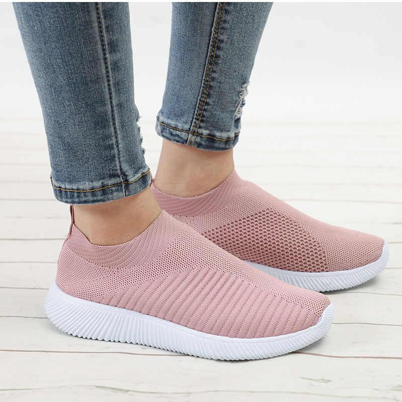 Sıcak satış tasarım kadın koşu ayakkabıları kadın çorap Sneakers nefes spor spor ayakkabı eğitmenler örgü sepeti femme