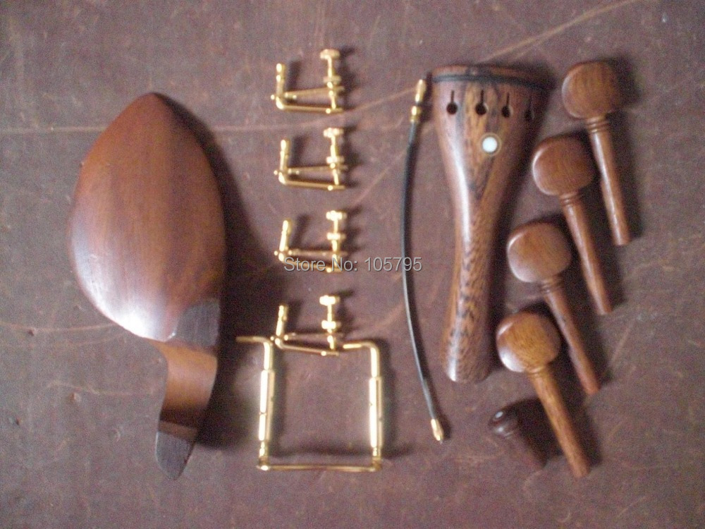 ФОТО 4 Sets Wenge wood Violin Parts 4/4 with Gold String adjuster and tail gut and Gold color clamp