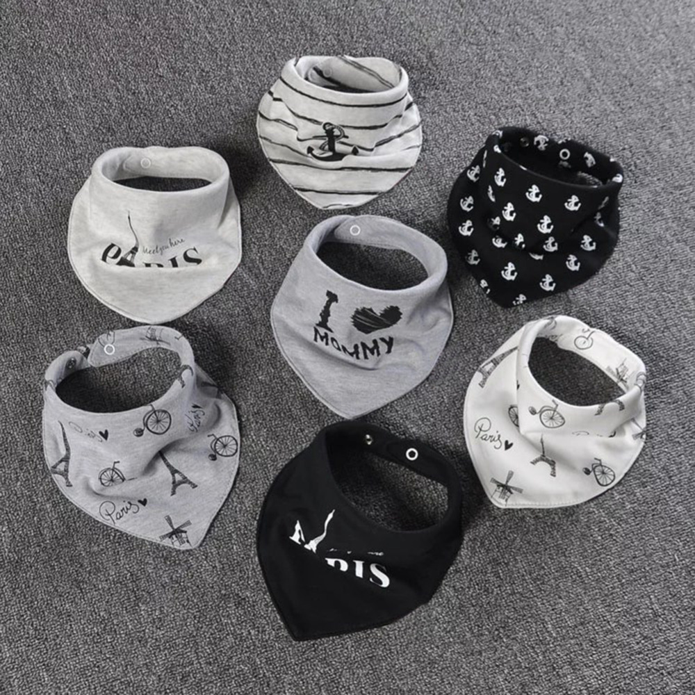 2 Pcs/lot Cotton Baby Bandana Bibs Double Layers Saliva Scarf Fashion Cartoon Print Baby Triangle Towel for Newborn Boy Girls finger print bandana