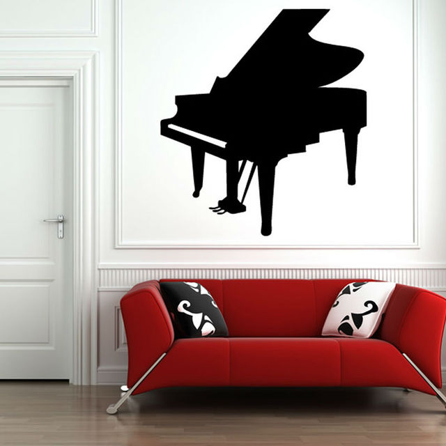 Living Room Wall Decor Mural Musical Instruments Piano Wall Stickers ...