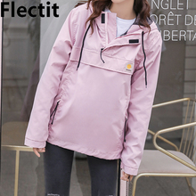цена на Flectit Cute Pink Hooded Windbreaker Jacket For Women Rain Jacket Hoodie Coats Female Outdoor Clothing