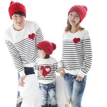 2016 new design household clothes Spring Autumn lengthy sleeve love Stripe father daughter woman boy T-shirt household matching garments