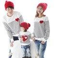 2016 novo design Primavera roupas Outono manga longa Tarja amor da família da filha do pai do menino da menina T-shirt da família roupas combinando