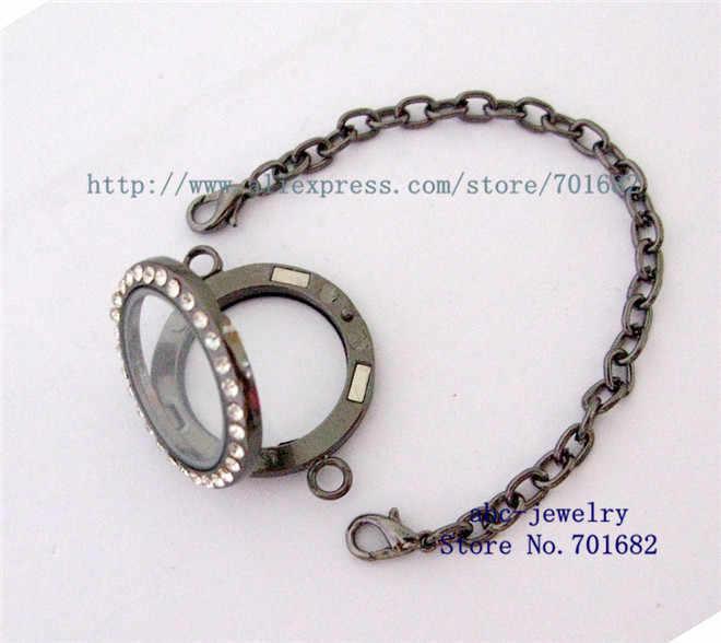 Súng màu đen lấp lánh khoảng 30mm kính vòng Mề Đay vòng đeo tay có thể đặt trong nổi mề đay quyến rũ