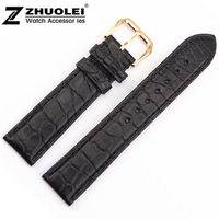 Watch band 16mm 18mm 19mm 20mm 21mm 22mm Black Genuine Alligator Leather Watch Strap Band Gold Steel Clasp
