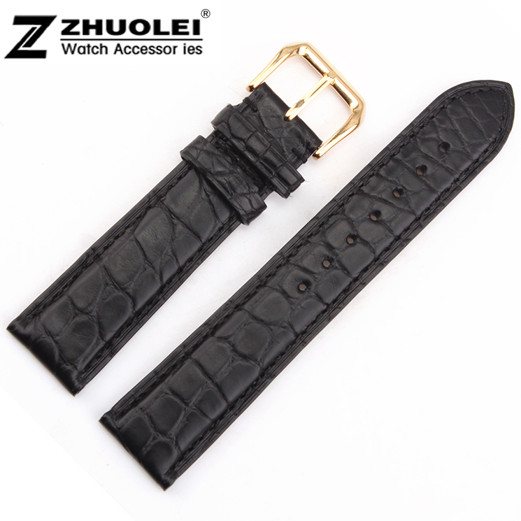Watch band 16mm 18mm 19mm 20mm 21mm 22mm Black Genuine Alligator Leather Watch Strap Band Gold Steel Clasp new mens genuine leather watch strap bands bracelets black alligator leather 18mm 19mm 20mm 21mm 22mm 24mm without buckle