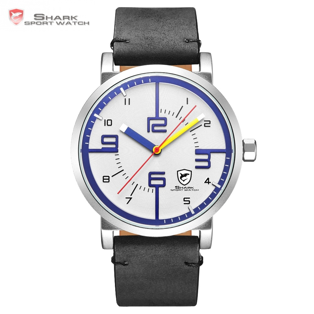 バハマはサメスポーツ腕時計トップブランドデザイナーホワイトブルーシンプルなダイヤル男性クレイジー馬ブラックレザーバンドクォーツ腕時計 /SH570  グループ上の 腕時計 からの クォーツ時計 の中 1