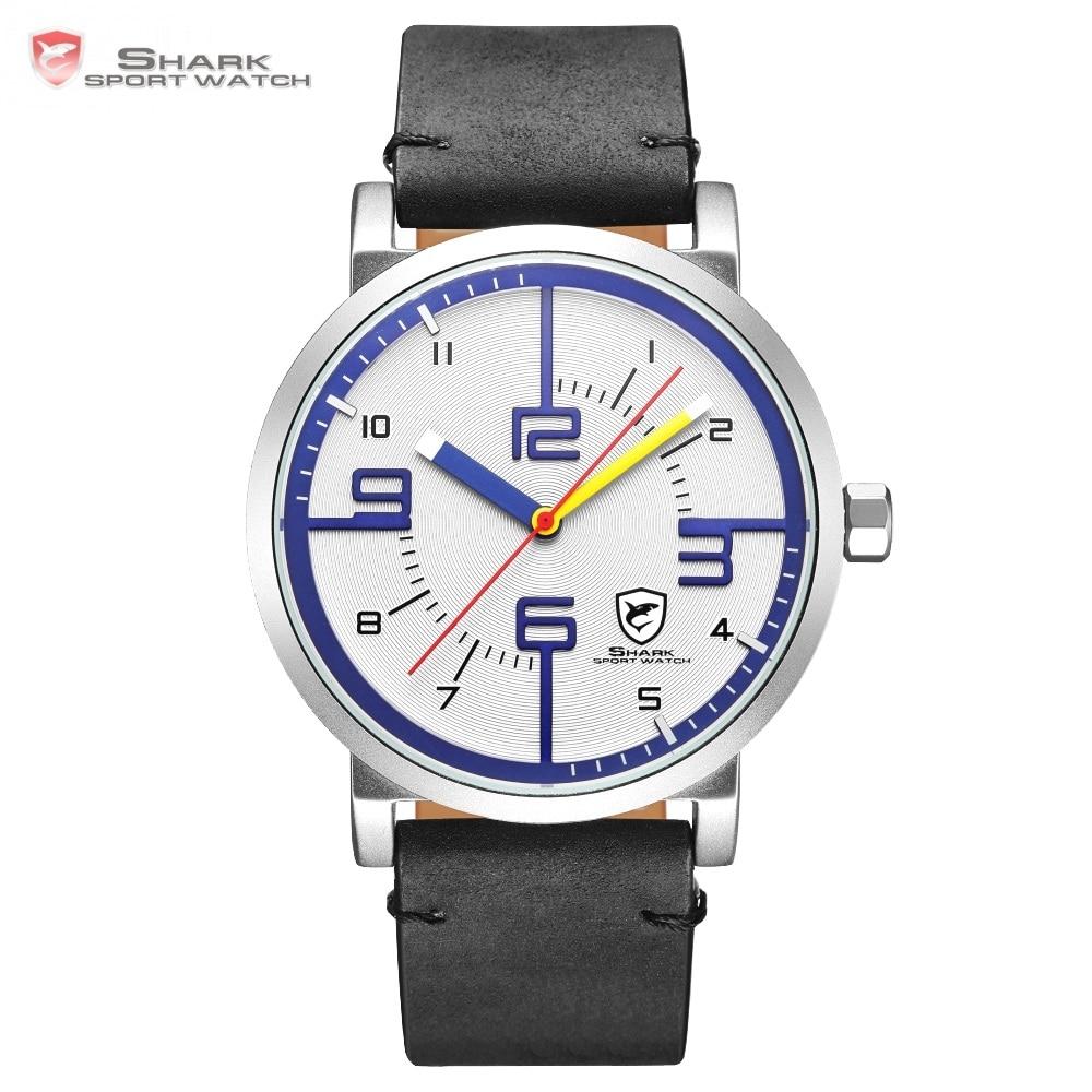 Bahamas Saw SHARK спортивные часы лучший бренд дизайнер белый синий простой циферблат для мужчин Crazy Horse черный кожаный ремешок повседневные часы/...