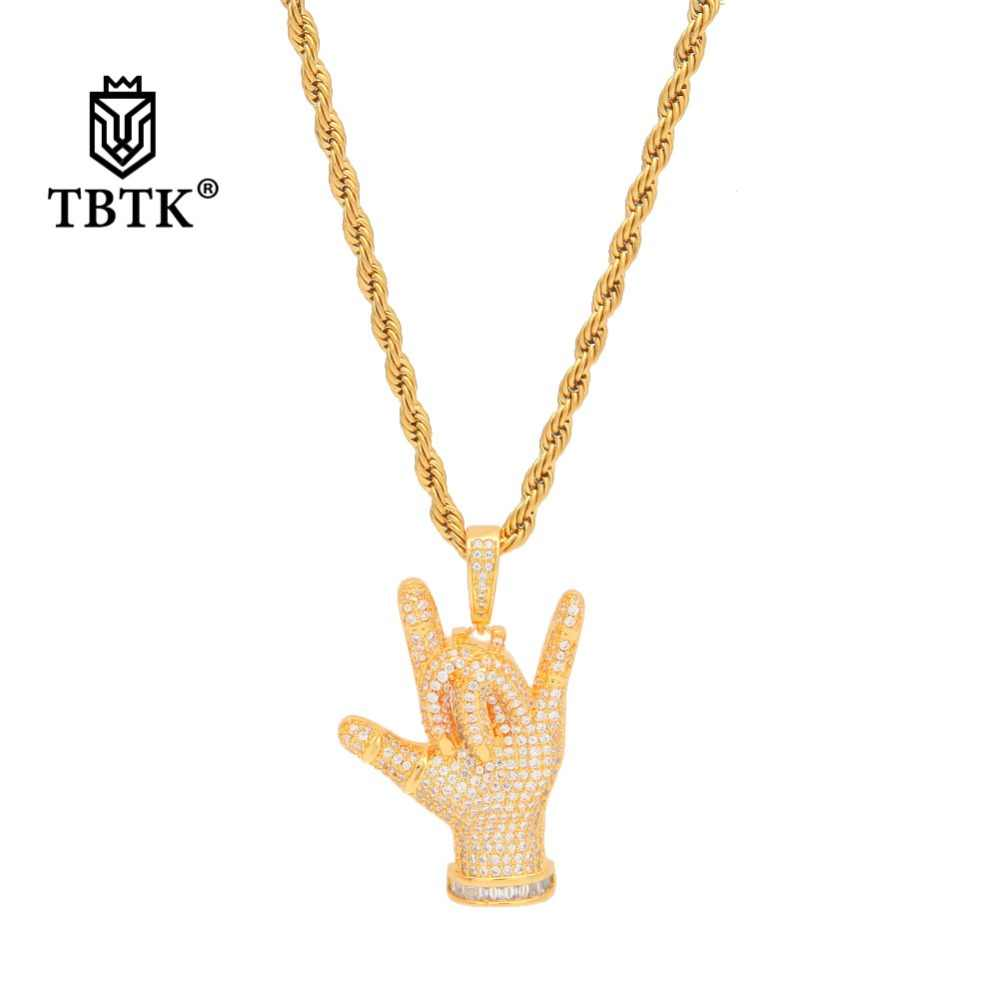 TBTK Fashion Metal całkowicie wyłożone kryształkami kocham cię naszyjnik złoty łańcuszek gest wisiorek Punk Rap kreatywna para luksusowa biżuteria zachodnia