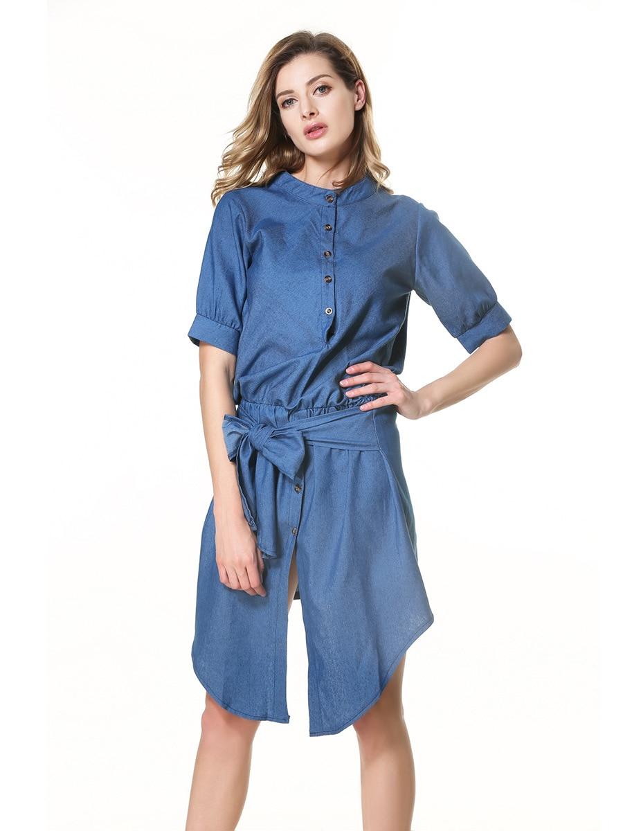 Summer dress women clothing stand neck lace-up Collect waist slim dress puff sleeve The cowboy dress casual dress blue Vestidos