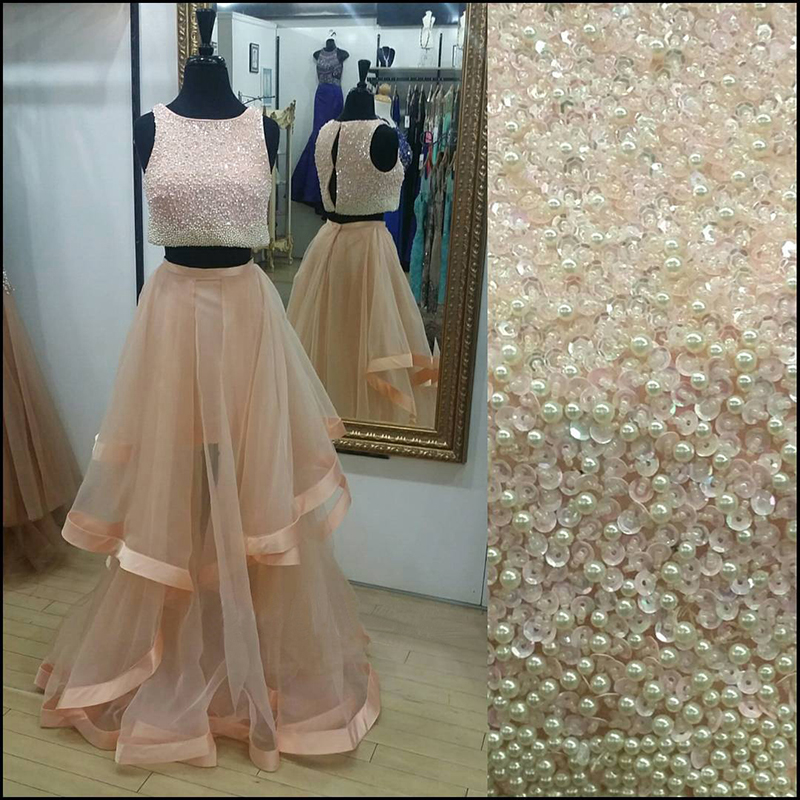 35b823634f7a Sparkly Rose Gold Two Piece Prom Dresses 2017 Organza Puffy A Line Pearls  Sequined Sleeveless O-neck Tulle Prom Dresses for Girl