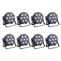 8 Pack 70W Super Bright 7 LED RGBW PAR Light DMX512 LED PAR Can Stage Light