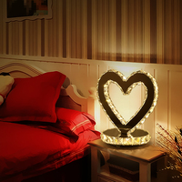 Crystal lamp heart shaped LED crystal wafer boutique wedding home lamp modern Table Lamps bedside white and black desk lamp