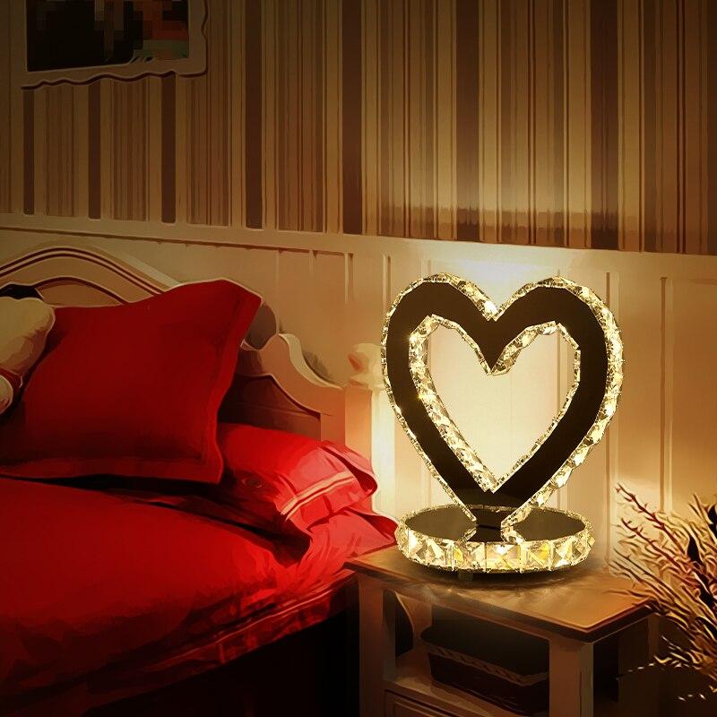 Lampe en cristal en forme de coeur LED gaufrette en cristal lampe de maison de mariage lampes de Table modernes lampe de bureau blanche et noire ZZP8069