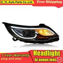 Стайлинга автомобилей светодиодные фары для Kia K2- светодиодный задний фонарь для K2 налобный фонарь светодиодный фары дневного света светодиодный DRL Bi-ксеноновых фар, Высокопрочная конструкция
