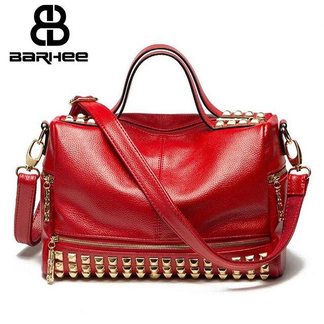 BARHEE High Quality Rivet PU Leather Women Bag Fashion Messenger Bag  Vintage Shoulder Bag Boston Top-Handle Bags Hobos Red Black 08d3782d66e2d