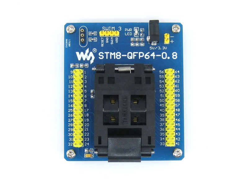 module STM8 QFP64 STM8 Programming Adapter IC Test Socket for LQFP64 Package 0.8mm Pitch with SWIM Port = STM8-QFP64-0.8 sop8 to dip8 programming adapter socket module black green 150mil