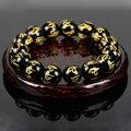 New! Natural Stone Black Agate Prayer Beads 10mm Carved Tibetan Bracelet + Gift Box