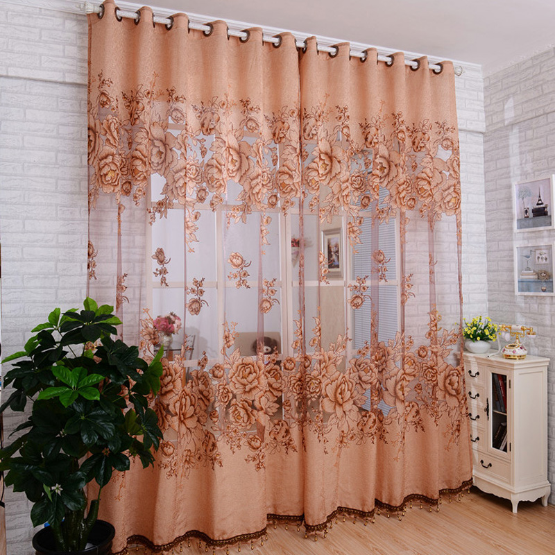 High Quality Peony Flowers Pattern Window Voile Curtains 100250 CM Home Decor Living Curtain Room Sheer Tulle T041