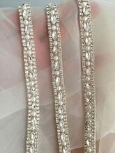 Thin rhinestone and crystal beaded lace trim for wedding belt, bridal sash, gown straps ,bridesmaids belt,rhinestone