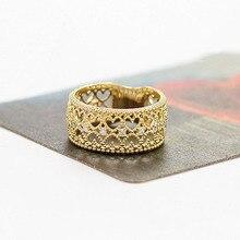 Women Rings Heart Hollow Out Rhinestone Rings Ladies Girls Noble Elegant Trendy Gold Alloy Finger Ring  #5 hollow out rhinestone ring