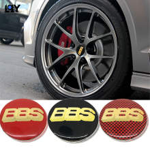LQY 4pc car stickers BBS LOGO wheel center modified black red yellow decorative aluminum diameter 56.5mm