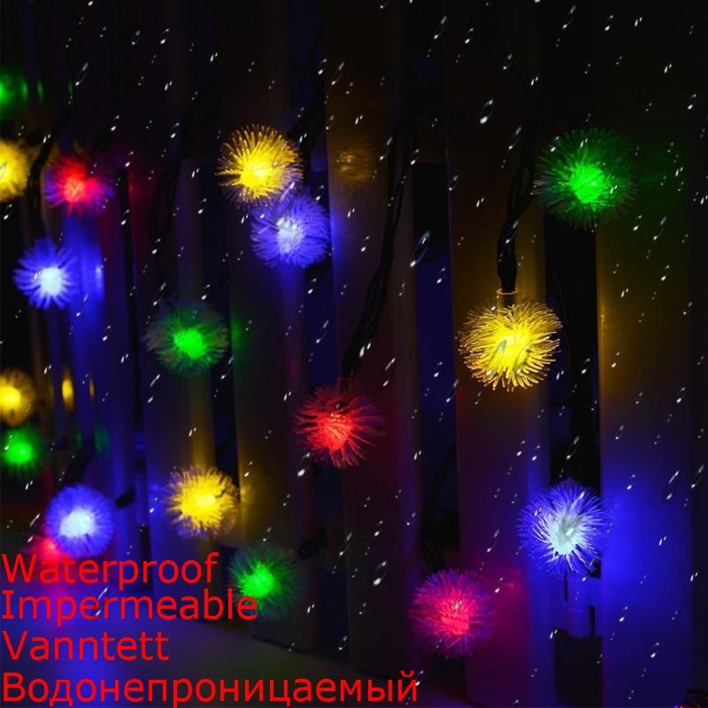 2018 Rushed Romantic Dandelion Ball 20 Led String Light Fairy Waterproof Solar Powered Decorative Outdoor RGB Xmas Lighting