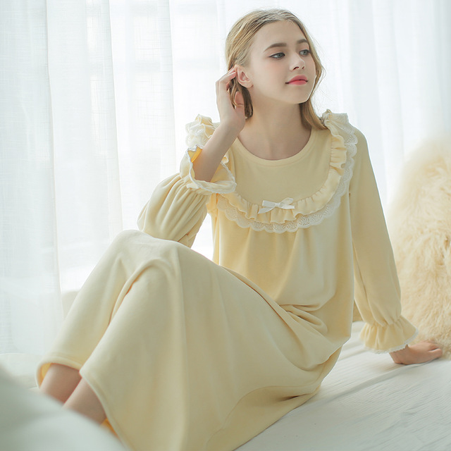Winter Nightgown Womens Long Sheer Vintage Long Nightgown Long Sleeve Super Soft Night Gown Sleepwear Thicken