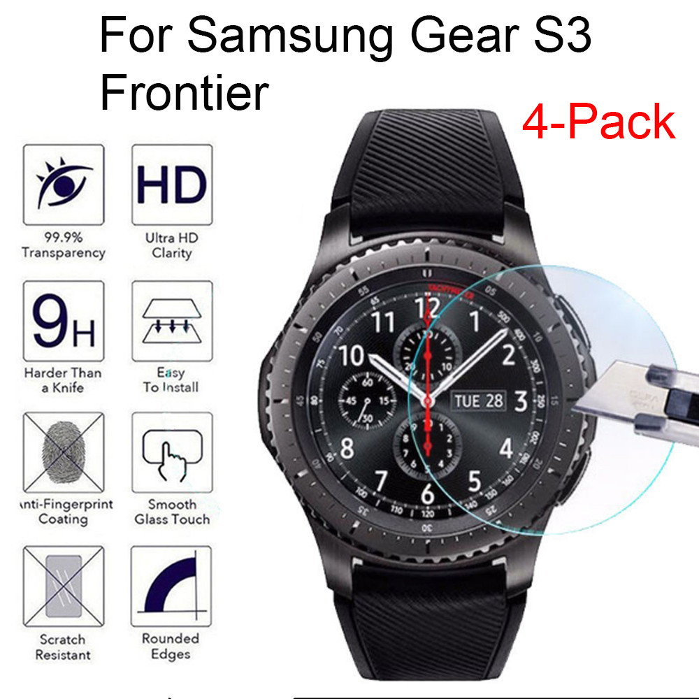 4pcs Tempered Glass For Samsung Gear S3 Frontier Smart Watch Screen Protector Film Scratch Shock Explosion Proof Bubble Free
