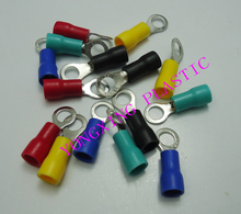 цена на 250pcs/lot RV5.5-4 insulated terminal block 12-10AWG 4-6mm2 cable red yellow blue green black five color mixed