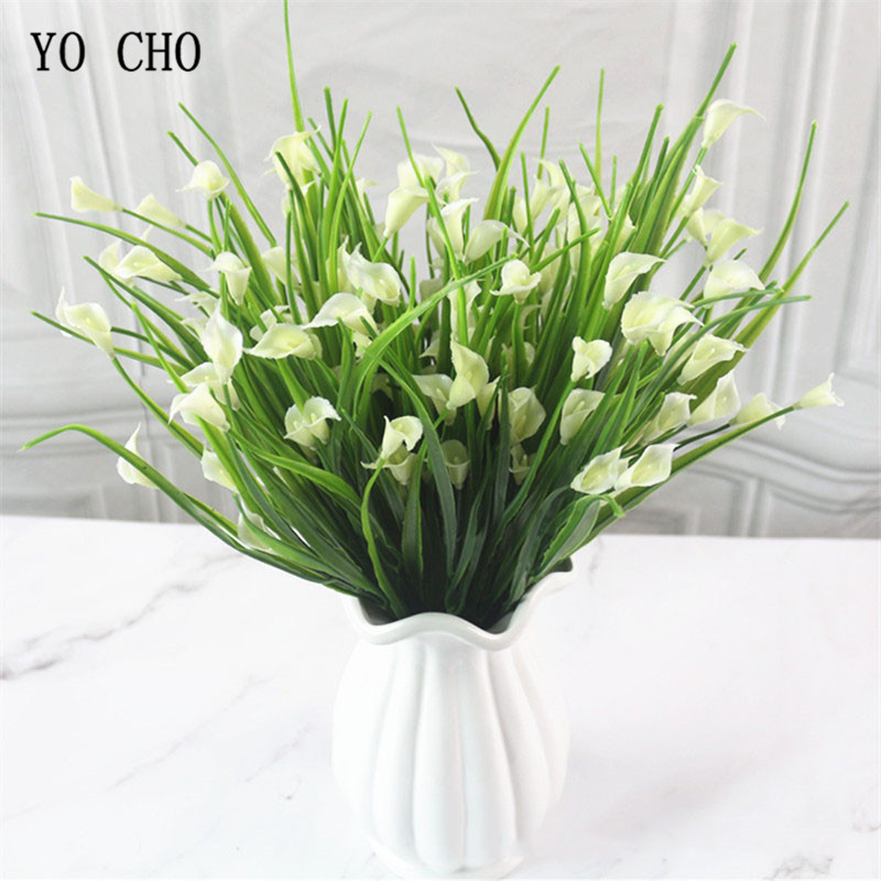 Home Decor 5 Forks Artificial Flower Plastic Spring Grass Calla Lily Green Plant Arrangement Gardening Fake