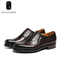 SINOEXTREME Brand Handmade Full Leather Men Oxford Shoes Casual Brown Men Oxford High Quality Soft Leather